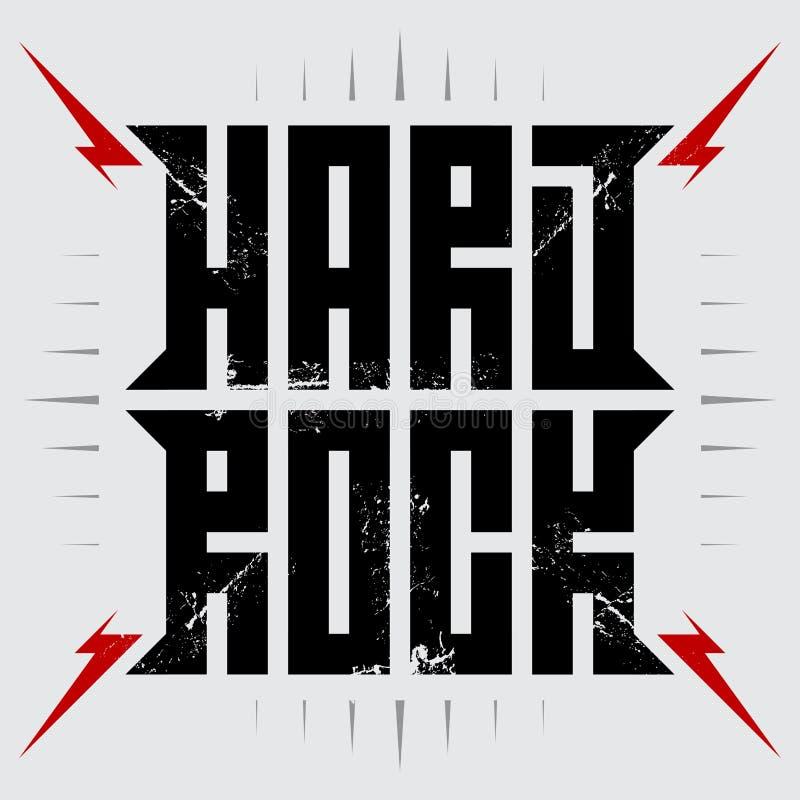 Heavy - cartel de la música con los relámpagos rojos Hardrock - camiseta stock de ilustración
