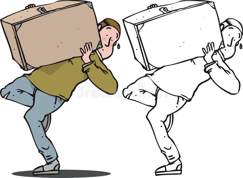 Heavy case. Man struggling to carry heavy case stock illustration