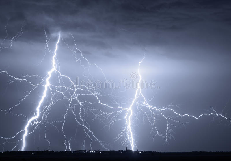 Heavy clouds bringing thunder lightnings and storm royalty free stock photos