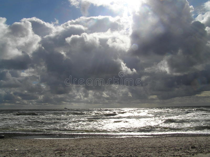 Heavy Clouds. Picture of rainclouds over Baltic sea. Picture is taken in Lithuania, near village Sventoji royalty free stock photo