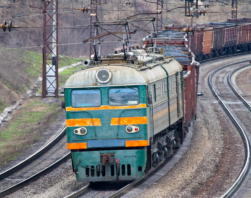 Download Heavy coal train stock image. Image of carriage, pantograph - 23190367