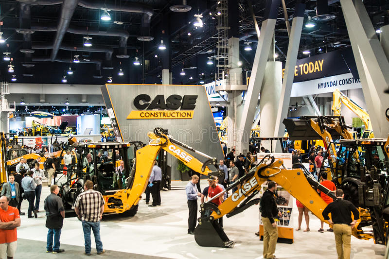 Heavy construction equipment display at Con Expo. Las Vegas, NV USA - Mar.8, 2017: Con Expo showcases a stunning array of highly- engineered, heavy duty royalty free stock image