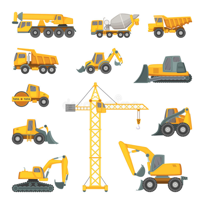 Heavy construction machines. Excavator, bulldozer and other technique. Vector illustrations in cartoon style. Bulldozer and digger equipment machine vector illustration