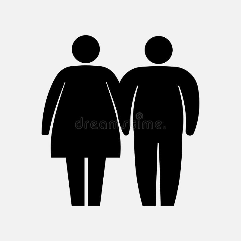 Heavy Couple Icon. Fat Family Icon. Husband and wife logo. Vector illustration. stock illustration