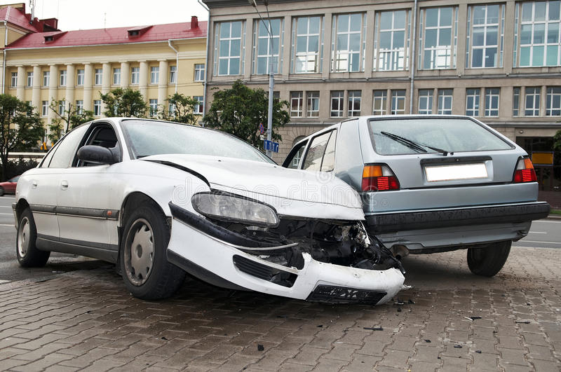 Heavy damage car accident. Road crash accident with extensive damage of car body stock images