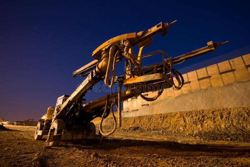 Heavy Drilling Machine. On Site Evening Shot stock photo