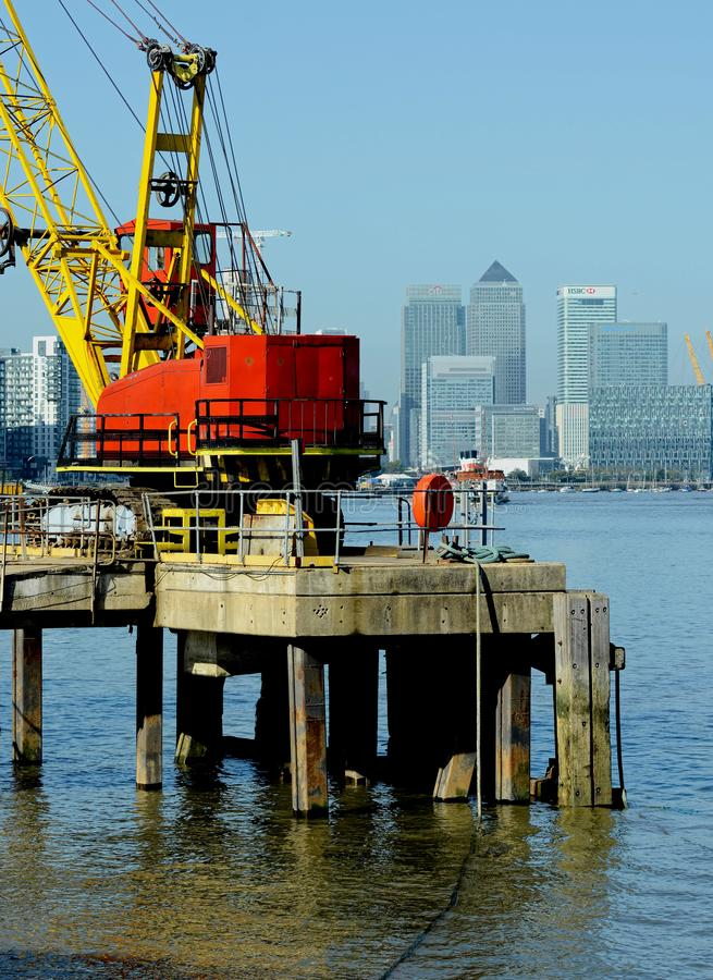 Crane with Docklands in background. London. UK stock images