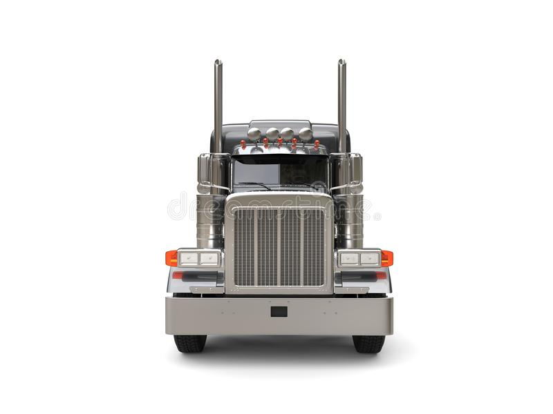Heavy duty dark gray big truck - front view vector illustration