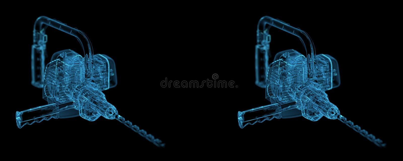Download Heavy Duty Drill Stero View Stock Illustration - Illustration of blueprint, hardware: 26612417