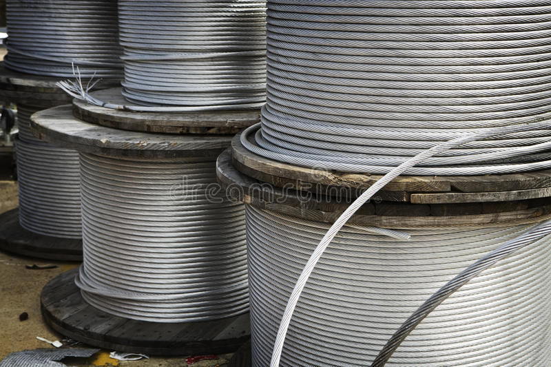 Heavy Duty Metal Cable. Is wound on large spools stock photos