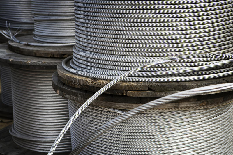 Heavy Duty Metal Cable. Is wound on large spools royalty free stock photo