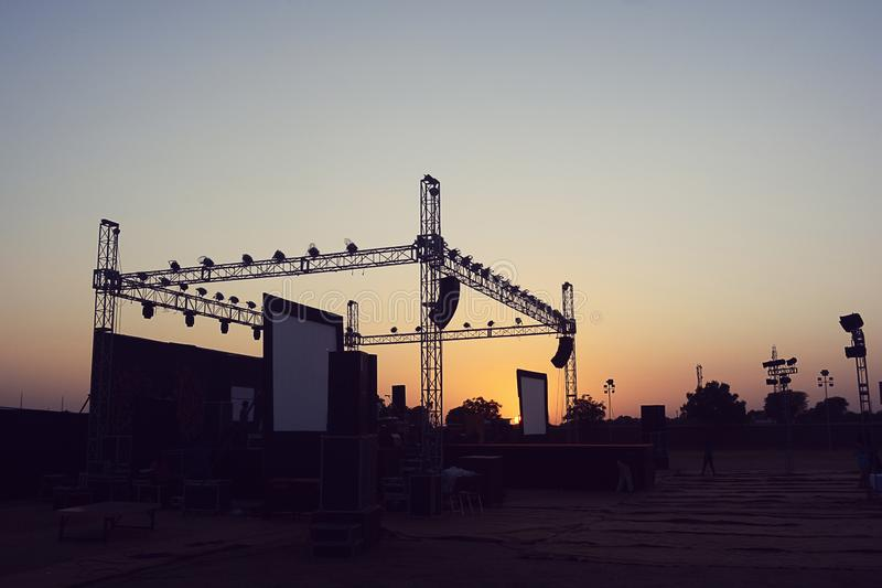 Empty Heavy duty concert and event stage stock photo
