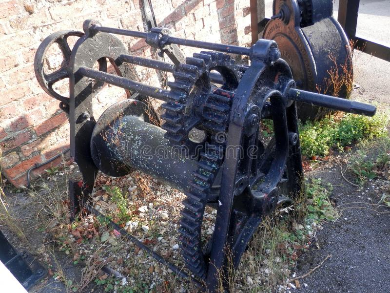 Heavy duty old winch gear from Canal lock royalty free stock photo