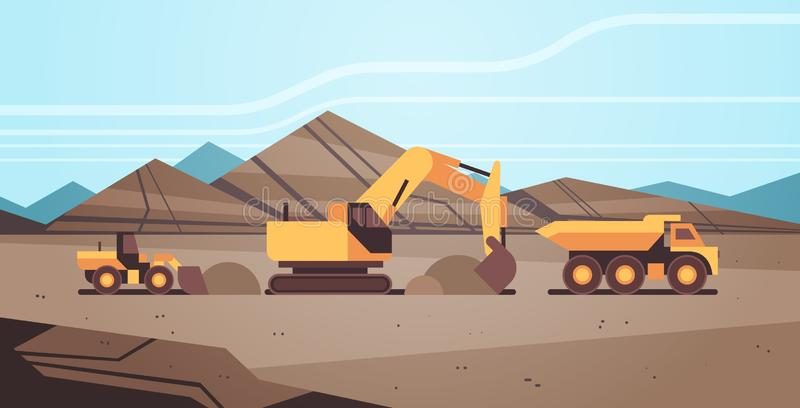 Heavy excavator loading soil on dump truck professional equipment working on coal mine production mining transport. Concept opencast stone quarry background vector illustration