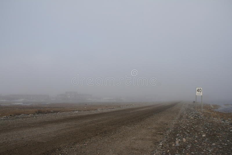 Heavy fog along the coastline of Arviat. Nunavut royalty free stock photos