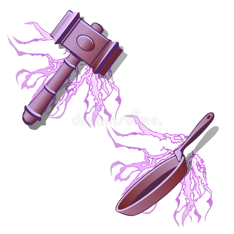 Heavy hammer and frying pan in purple color. Vector illustration on white background vector illustration