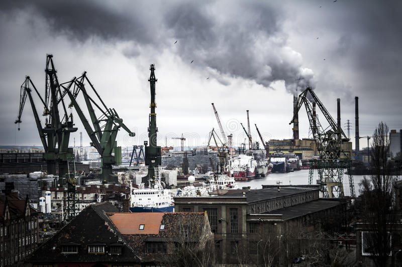 Heavy industrial scene at the Gdansk shipyard in Poland stock image