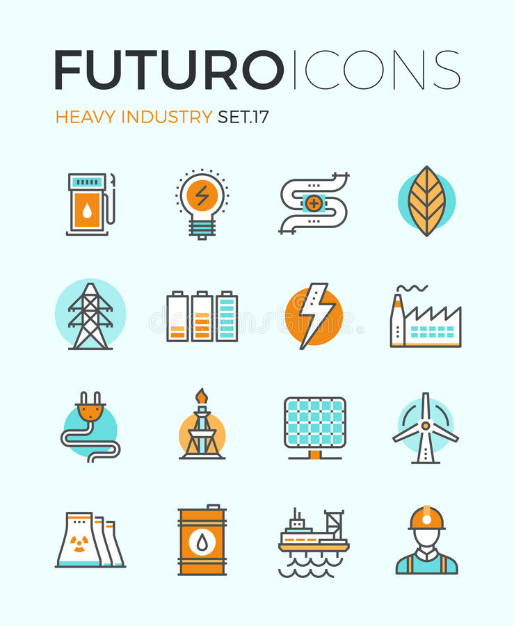 Heavy industry futuro line icons stock illustration