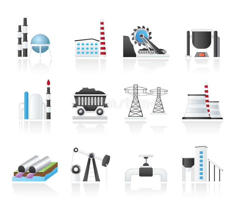 Heavy industry icons stock illustration