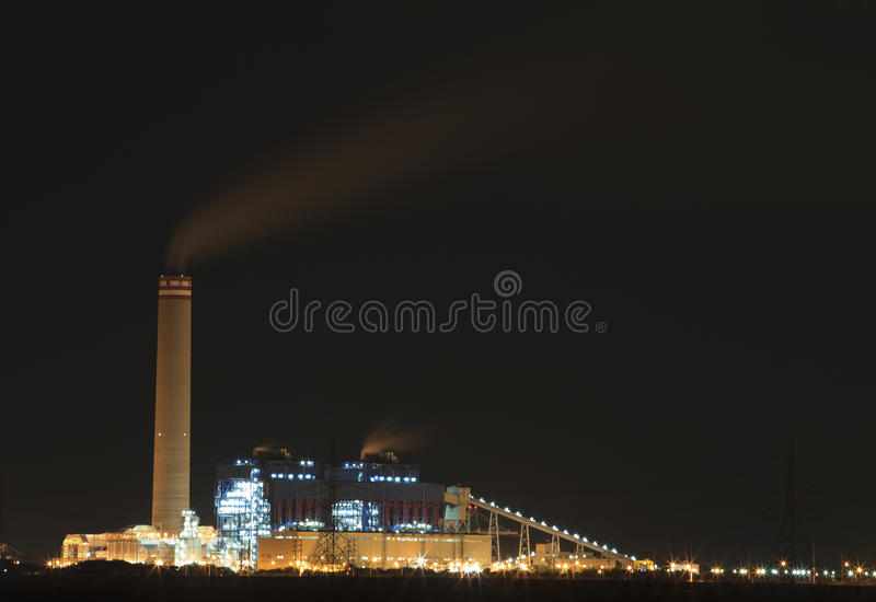 Heavy industry in industrial estate. In night scene stock image