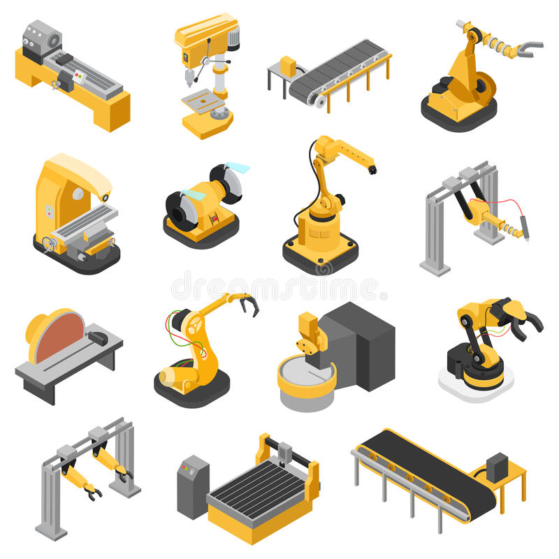 Heavy industry machinery assembly line flat 3d isometric vector stock illustration