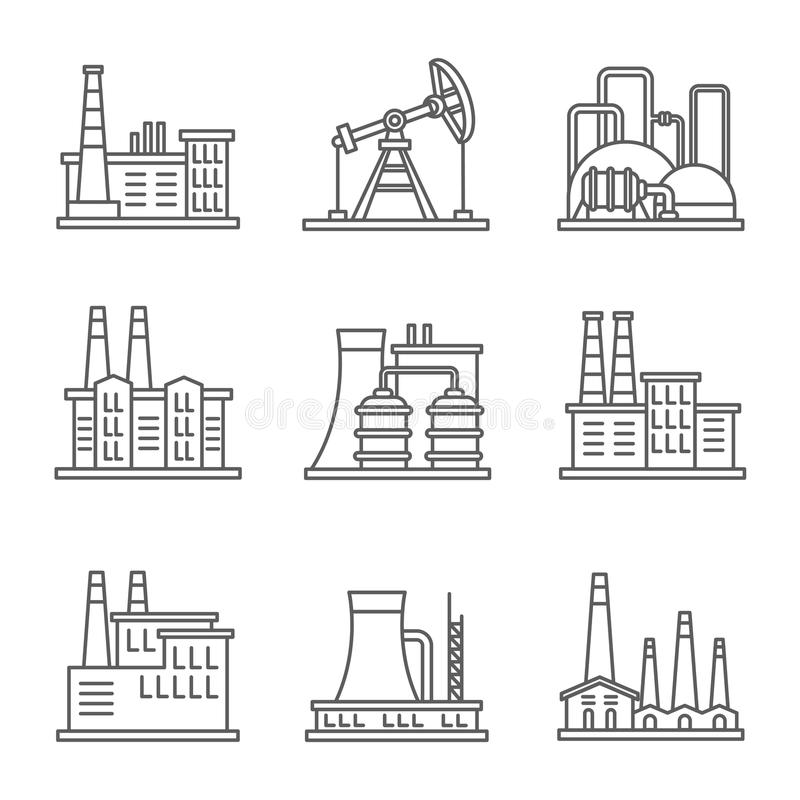 Heavy industry power plant and factory thin line vector icons royalty free illustration