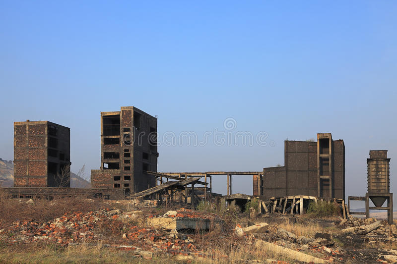 Heavy industry ruins. Ruins of a very heavily polluted industrial site at Copsa Mica,Romania.In 1990's the place was known as one of the most polluted towns in stock image