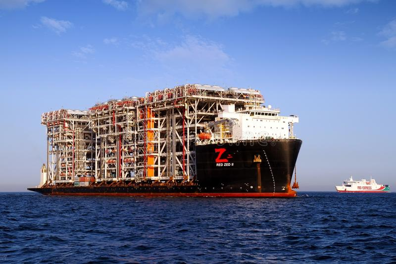 Giant heavy-lift ship RED ZED 2 anchored in Algeciras bay. royalty free stock photos