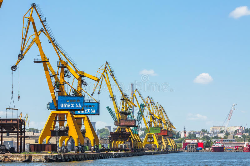 Heavy load dockside cranes stock images