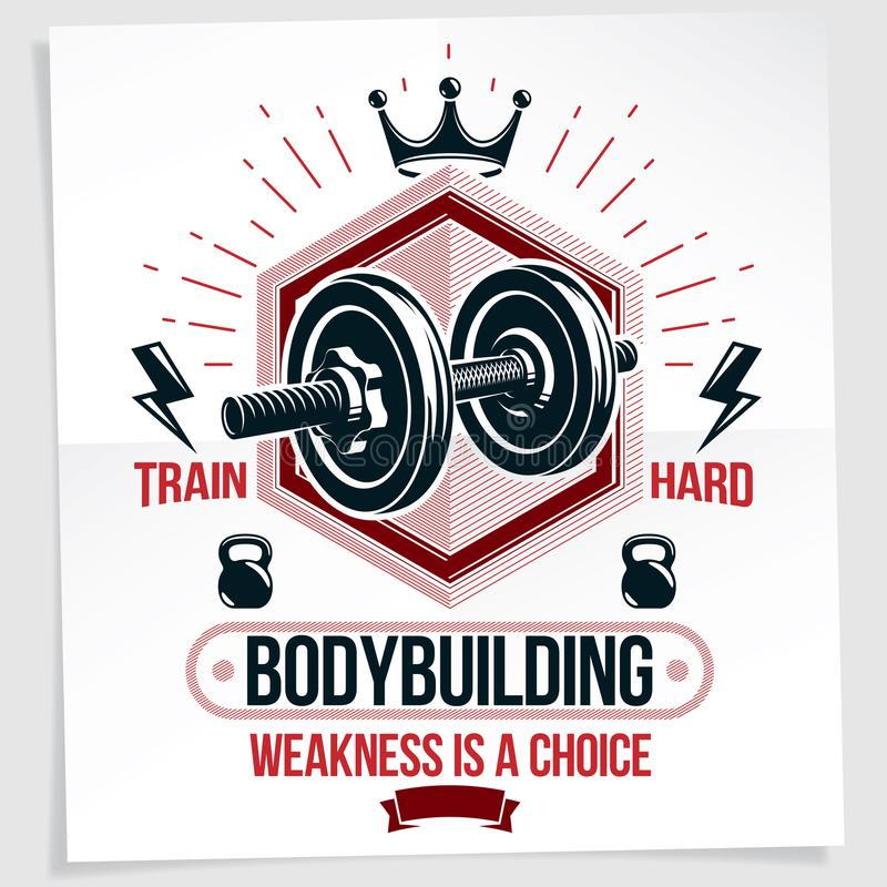 Heavy load power lifting championship vector advertising poster. Created with disc weight dumbbell, kettle-bell sport equipment and royal crown. Train hard royalty free illustration