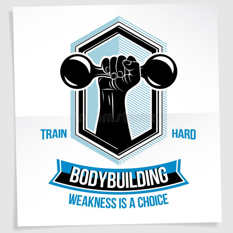Heavy load power lifting championship vector advertising poster. Created with strong muscular bodybuilder arm holding dumbbell sport equipment. Weakness is a royalty free illustration