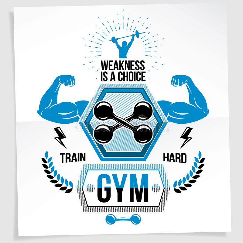 Heavy load power lifting championship vector advertising poster. Created with strong muscular bodybuilder arms with dumbbell sport equipment. Weakness is a stock illustration