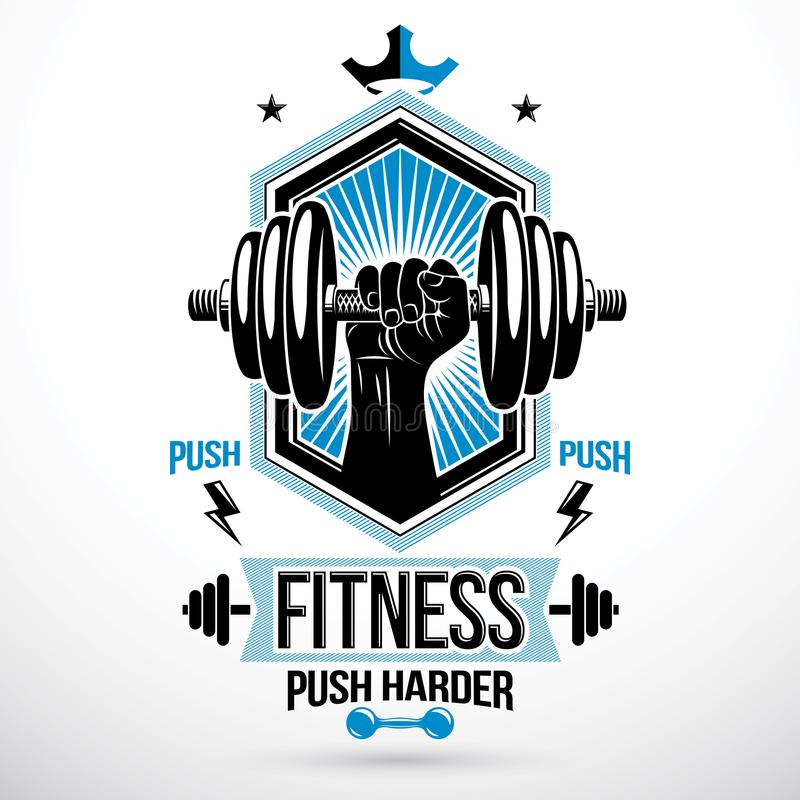 Heavy load power lifting championship vector emblem created with. Muscular bodybuilder arm holding dumbbell vector illustration