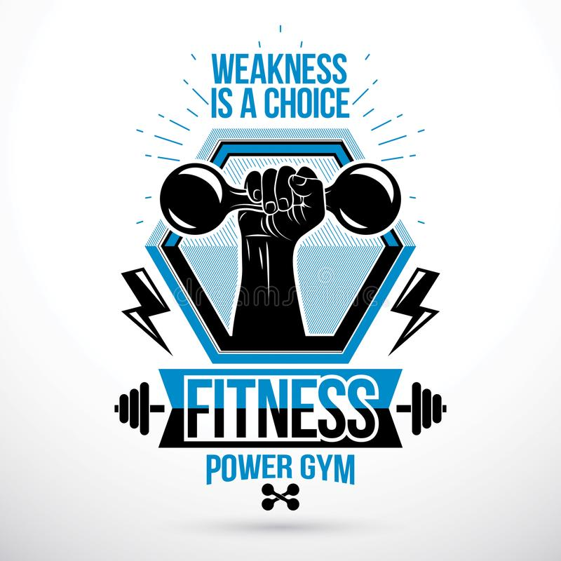 Heavy load power lifting championship vector emblem created with. Muscular bodybuilder arm holding dumbbell royalty free illustration