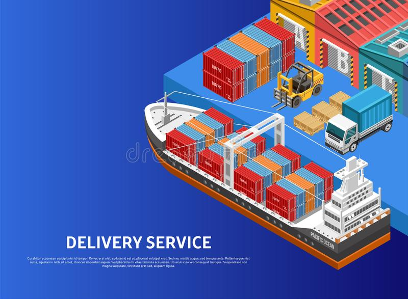 Heavy machinery loading ship in cargo port. Heavy vehicles loading huge freight ship with containers in modern cargo port near warehouses vector illustration