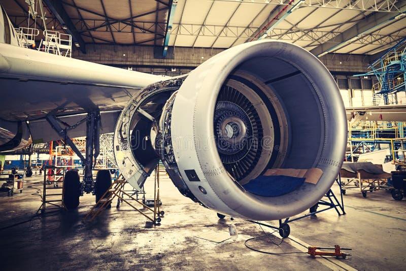 Heavy maintenance. Engine of the airplane under heavy maintenance