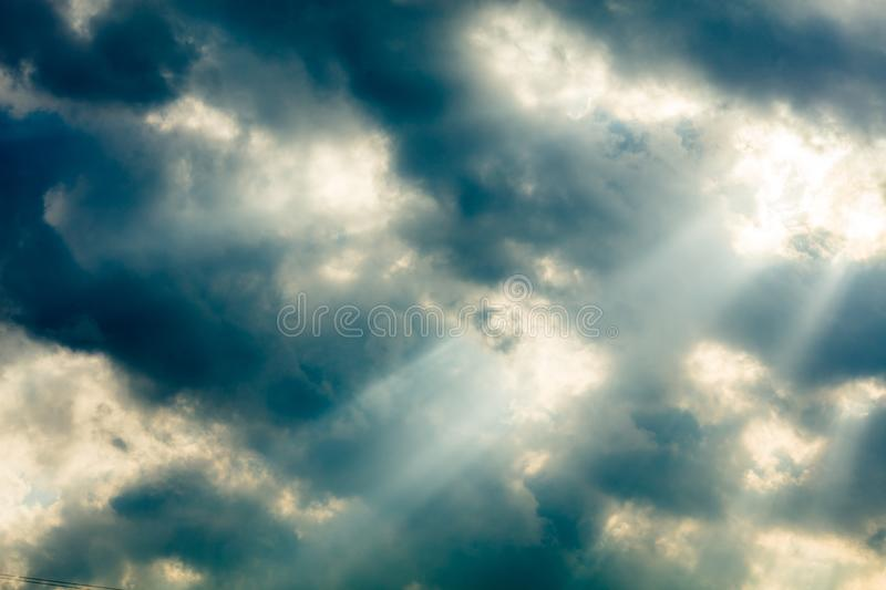 Storm Clouds background. Heavy massive stormy clouds with no sunlight royalty free stock photography