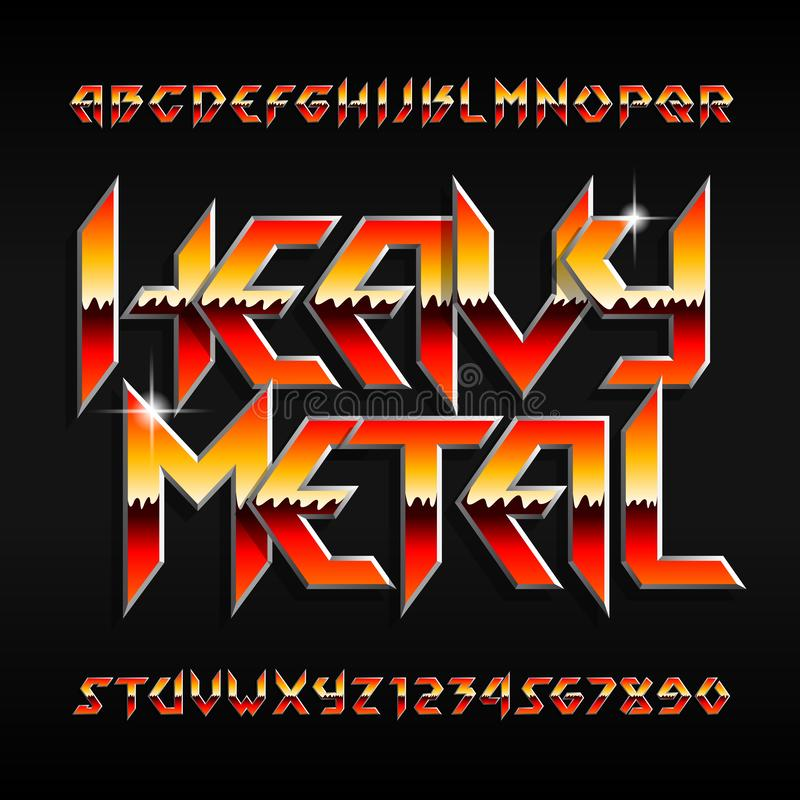 Free Heavy Metal Alphabet Font. Shiny Letters And Numbers In Hard Rock Style. Stock Image - 125341791