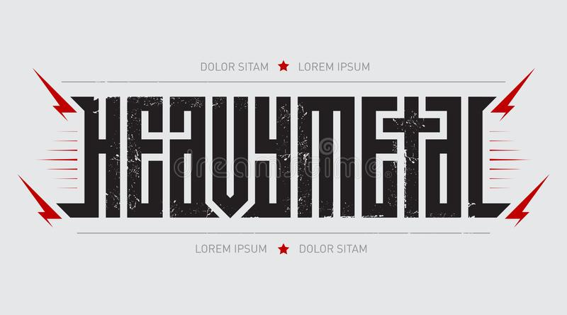 Heavy metal - brutal font for labels, headlines, music posters or t-shirt print. Horizontal label. Horizontal label. Heavy metal - brutal font for labels stock illustration