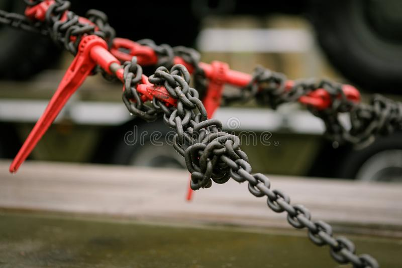 Heavy metal chain and hook royalty free stock photography