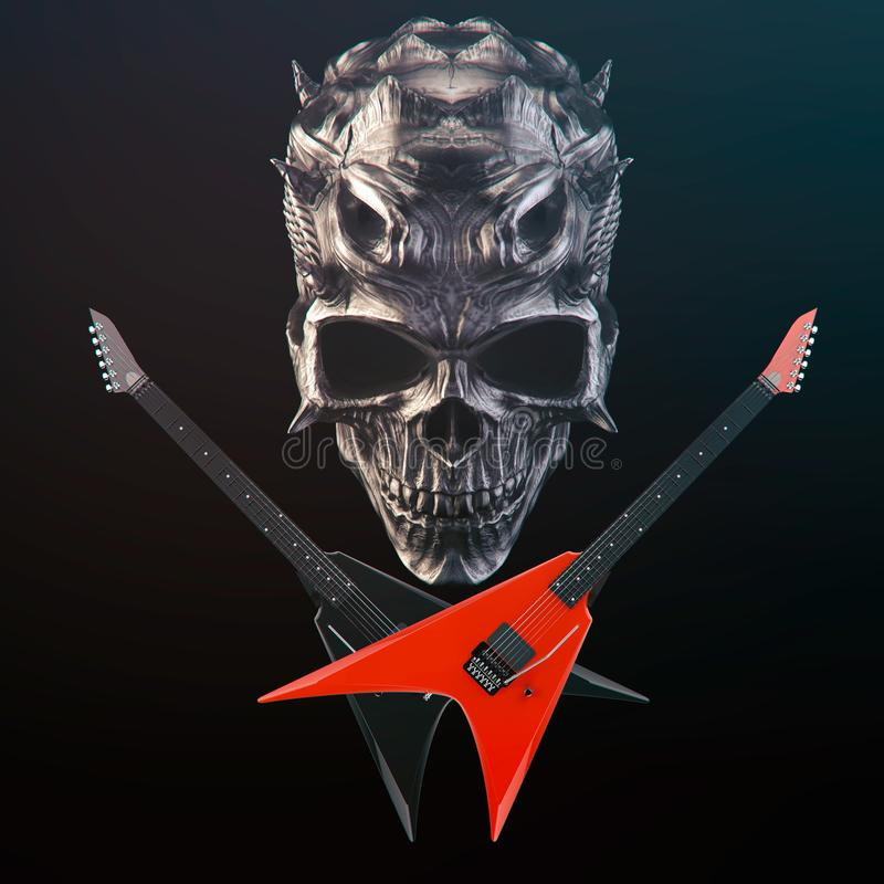 Free Heavy Metal - Demon Skull, Black And Red Crossed Guitars Royalty Free Stock Images - 142537839