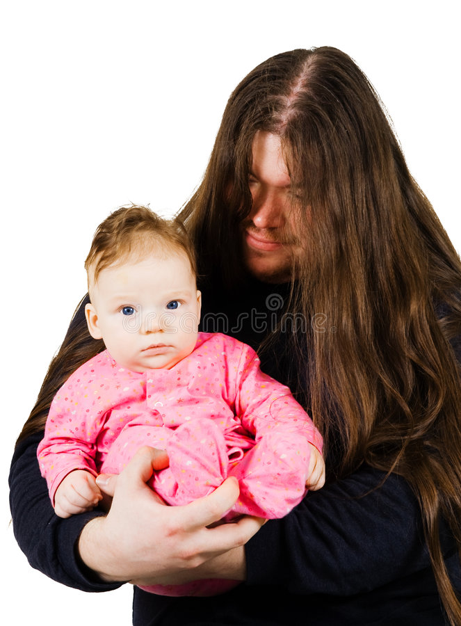 Heavy metal father singing lulaby to his son stock photography