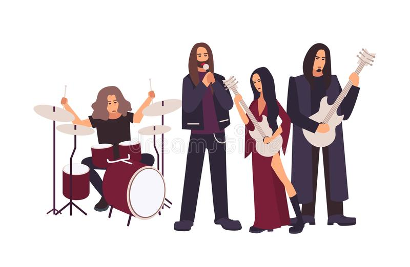 Heavy metal or gothic rock band performing on stage. Men and women with long hair singing and playing music during vector illustration