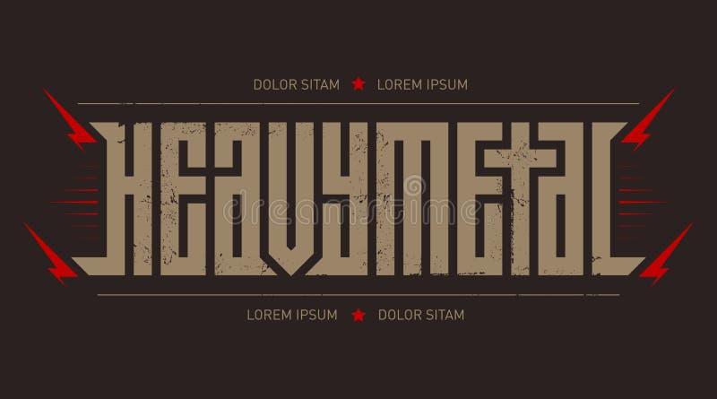 Heavy Metal - grober Guss für Aufkleber, Schlagzeilen, Musikposter oder T-Shirt Druck Horizontale Aufschrift lizenzfreie abbildung