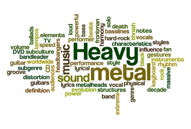 Heavy Metal Music. Word Cloud Illustration of Heavy Metal Music - containing sub-genres vector illustration