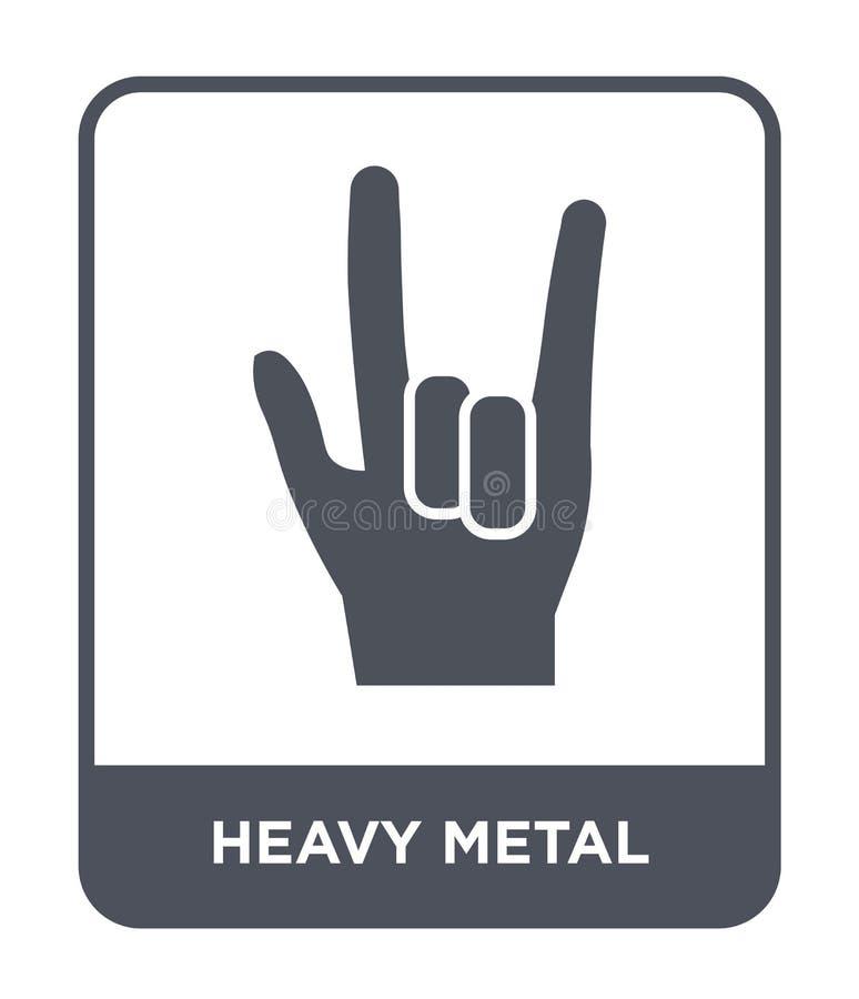 heavy metalsymbol i moderiktig designstil heavy metalsymbol som isoleras på vit bakgrund modern heavy metalvektorsymbol som är en vektor illustrationer