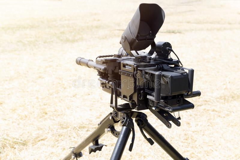 Heavy military equipment exhibition. Sniper rifle with bipod. Army equipment.  royalty free stock photo