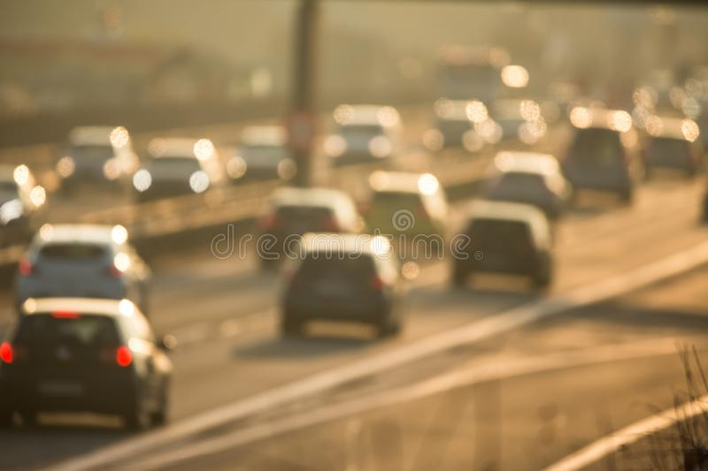 Ars going very slowly in a traffic jam during the morning rushhour royalty free stock photo