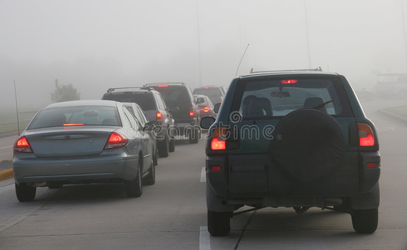 Download Heavy Morning Traffic Negotiating Foggy Conditions Stock Image - Image: 1499161