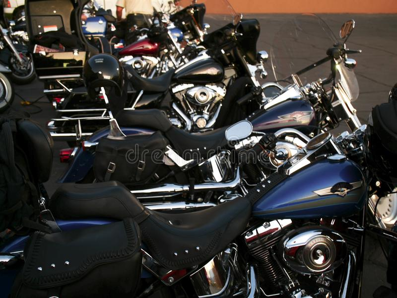 Heavy motorcycles are lined up stock image